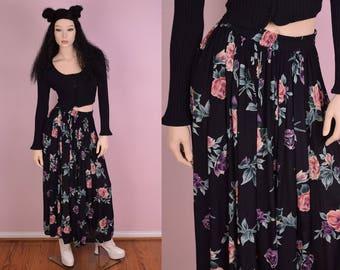 90s Floral Print Flowy Skirt/ Medium/ 1990s