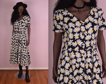 90s Daisy Print Button Down Dress/ US 8/ 1990s