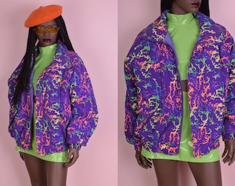 80s Colorful Puffy Jacket/ Large/ 1980s/ Ski Jacket