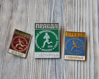 "Set of 3. Vintage USSR badges,pins.""Athletics"""
