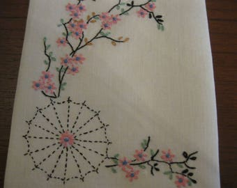 Beautifully embroidered handtowel in an Asian motif