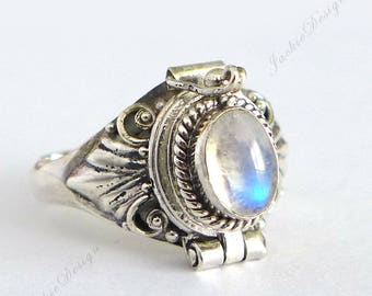 Rainbow Moonstone Poison Sterling Silver Ring Locket Secret Compartment JD30