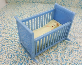 Renwal  Cradle and Baby  Blue Baby Nursery Doll House Toy hard Plastic