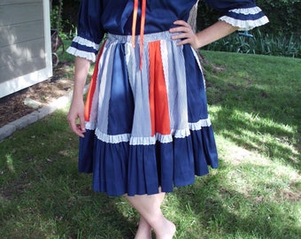 Vintage Rockmount Ranch Wear, Red White and Blue, Skirt and Top Set, Square Dance, Rockabilly, Denver, Colorado