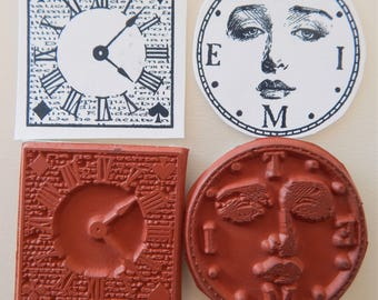 Faces of Time Unmounted Rubber Cling Stamps Clock Woman Altered Art Collage g