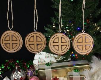 Yule Ornaments - Sunwheel - Set of 4 - Yule Tree Decorations - Viking Yule - Yule Decorations - Asatru Ornaments - Viking Gift