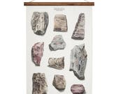 Geology Rocks - wall decor art print  handmade canvas poster - rock and minerals artwork Large A1