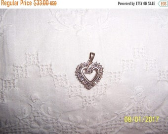 TWICE A YEAR, 25% Off Vintage Clear Cubic zirconias heart pendant. Silver plated.