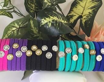 Hair tie bracelet or elastic with bullet and Swarovski crystal set of 5 choose colors!