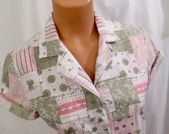 PASTEL PATCHWORK vintage blouse - four leaf clover - pink and green - sz S