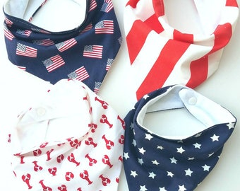 Fourth of July bib set, summer bib, Triangle bibs, july 4th bandana bib set, American flag bib, modern bib, modern baby gift, scarf bib