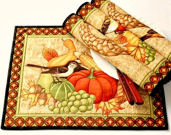 Fall Placemats, Quilted Place Mats, Table Mats, Thanksgiving, Autumn Table Decor, Set of 4 Table Quilt, Quiltsy Handmade