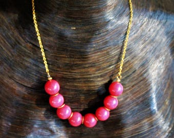 Pink dyed Jade Necklace