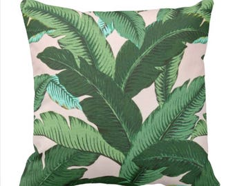 outdoor pillows, palm leaf pillows, tommy bahama pillow, patio decor, jungalow style, pink outdoor pillow, jungle pillow, palm tree pillow