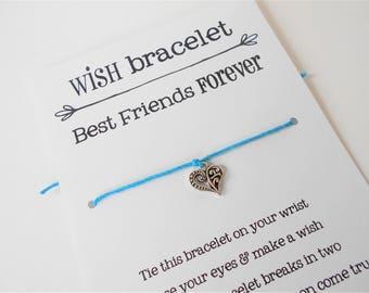 Best Friends Wish Bracelet, Tie-on Charm Bracelet, BFF Wish Bracelet, Friendship Bracelet, Thinking of You Gift, Wish Bracelet Gift for her