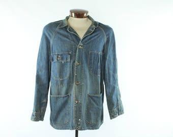 Vintage 40s PAY DAY Denim Jacket Barn Chore Coat Blue Jean 1940s Large L PENNEYS