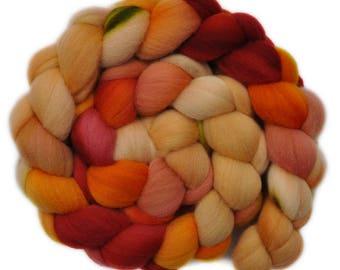 Hand dyed roving -  Targhee wool spinning fiber - 4.0 ounces - Friendly Feeling 1