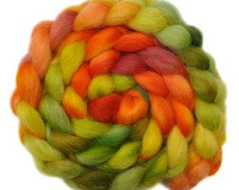 Hand painted wool roving - Teeswater combed top spinning fiber - 4.0 ounces - Summer Fruit