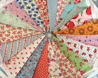 Shabby chic cotton fabric bunting  banner,fabric bunting,flag garland,Birthday party decoration,party bunting,playroom decor,baby shower
