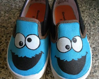 Cookie monster custom slip-on shoes toddler/kids/adult *free shipping*