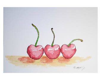 Signed Watercolor Print, Three Cherries, 8.5x11 inches, Watercolor Painting, Food Sketch, Kitchen Decor, Wall Art, Food art