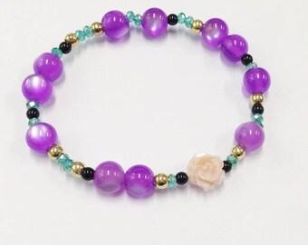 Purple and pink mother of pearl rose kawaii bracelet women present for mom birthday gift for her beaded bracelet girlfriend gift