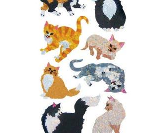SALE Hambly Cats Glitter Sticker Strip - Kitten Kitty Cat Feline Tabby Calico Siamese Tuxedo Rare Style Vintage Scrapbook