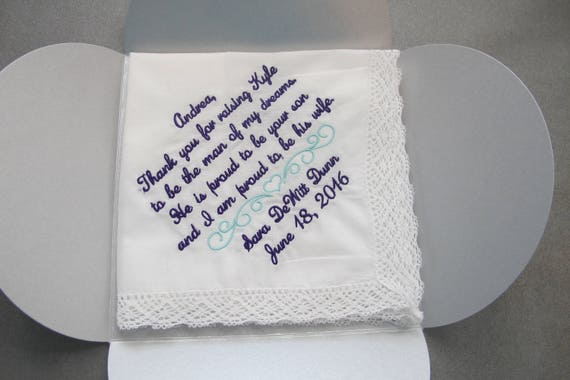 Wedding handkerchief embroidered for the Mother of the Groom.  This is a very popular verse.