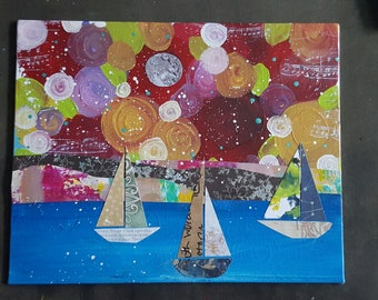Ships in the Night 8x10 Mixed Media Original painting on canvas panel