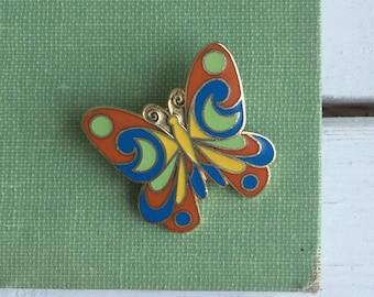 Vintage 80's Butterfly Enamel Pinback Pin