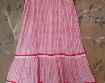 70s red and white striped and lace trim sun dress by June Bug for Liberty House, Hawaii