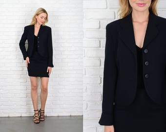 Vintage 80s 90s Christian Dior Black Skirt Suit Jacket Blazer Wool Pencil Mini 10854