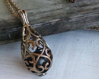 Art Deco Pendant Necklace, Vintage Caged Bead Necklace, Metal Drop Cage Pendant, Layer Long Chain Necklace, Retro Jewelry Filigree Necklace
