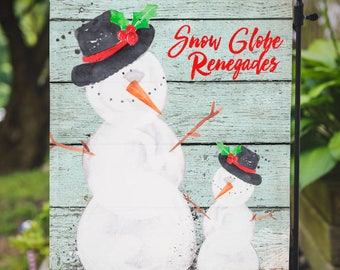 Christmas Flag |  Snow Globe Renegades | Beachy Christmas | Garden or Large House Flag | Size via Dropdown | Convo for Custom