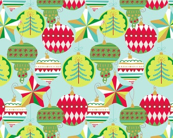 Adorn Ornaments on Blue From Blend Fabric's All is Bright Collection by Maude Asbury