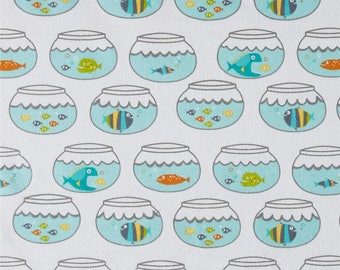 Flannel -  Swimming In Circles Sea Colorway from Michael Miller Fabric's Mer-Mates Flannel Collection- Fish Fabric