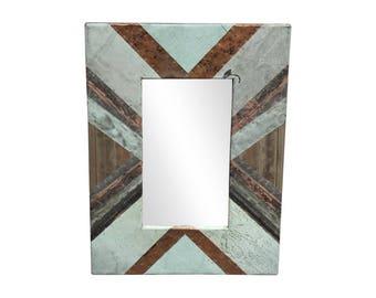 22 in. x 28 in. Diagonal Copper Cornice Patchwork 4.5 in. Mirror