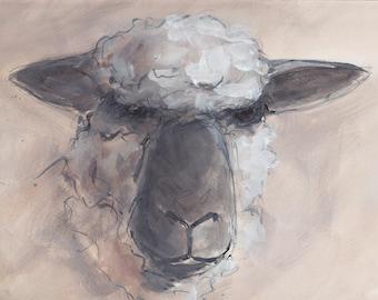 Original Oxford Down Sheep Ram Ewe Painting - Mixed Media on Watercolour Paper