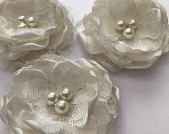 Hair Flowers - Satin and Lace Flower Clip Set - Cream Satin, Handmade Fabric Flowers, Flower Clips, Hair Bow, Flowergirl
