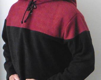 Legendary Merlot (Burgundy) and Black Pointed Hood Fleece Archer's Tunic Top - Men's Large