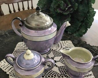 Vintage Royal Rochester Tea Pot, Sugar & Creamer 1920's