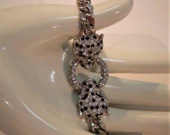 rhinestone lion head bracelet