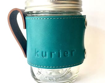 Teal / Turquoise Kurier leather Camp Mug