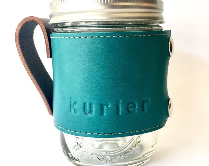 Teal / Turquoise Kurier leather Camp Mug