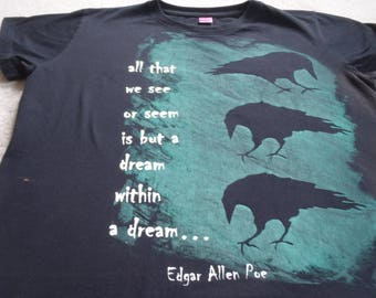 Woman's XL screen printed t-shirt with ravens with Edgar Allen Poe text, printed with opaque white & a glow in the dark ink that looks green