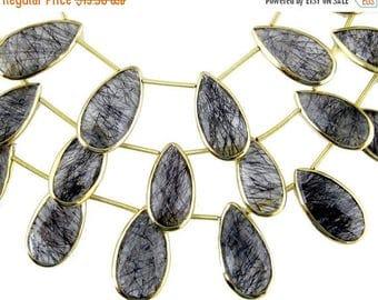 10% off Memorial Day Rutiltaed Crystal Quartz Beads-- Black Rutilated Quartz Teardrop Beads with Gold Vermeil Bezel-- BY BEAD (LX-24)