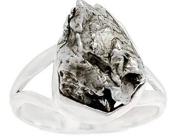 Meteorite Campo Del Cielo Nugget Sterling Silver Ring sz 8.5
