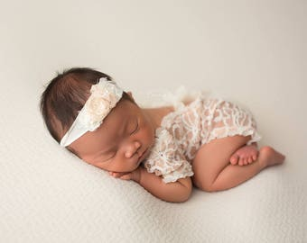 Romper and Headband Set, Floral Romper, Openback Romper, Newborn Romper, Newborn Props, Vintage Newborn Romper, Baby Outfit, Photo Props