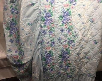 Vintage full size bedskirt, vintage skirt, ruffles, blue, buttterflies, floral, pink, green