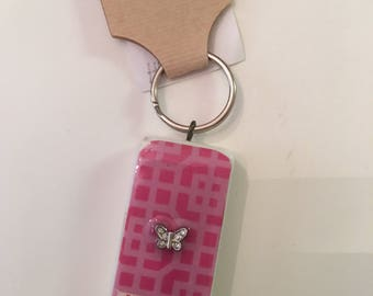 Domino Keychain, Key chain, Butterfly, Happy